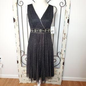 NWT Jessica Howard silvery beaded dress 8